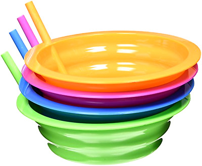 Sip A Bowl Arrow Plastic 22 Ounce Assorted Colors with Built In Straw BPA Free