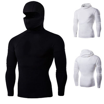 Mens Ninja shirts Kung Fu Black hooded Uniform Martial Arts Tai Chi Clothing top