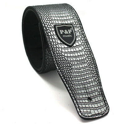 "2.6"" Adjustable Silver Python Style Guitar Strap PU Leather for Electric Guitar"