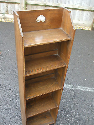 Quality antique Arts and Crafts slimline narrow bookcase, very practical storage