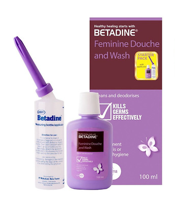BETADINE FEMININE WASH 10% Povidone Iodine Vaginal Douching Kit Applicator 100ml