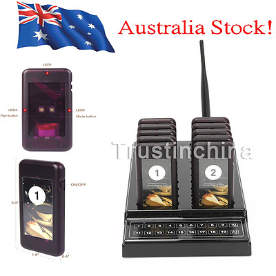 Restaurant Wireless Coaster 10 Pagers Guest Waiter Call Paging Queuing System AU