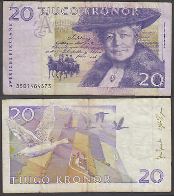 Sweden 20 Kronor 1998 (F-VF) Condition Banknote P-63a
