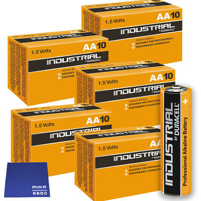 50 Duracell Industrial AA Alkaline Batteries Procell MN1500 1.5V LR6 Chamois inc