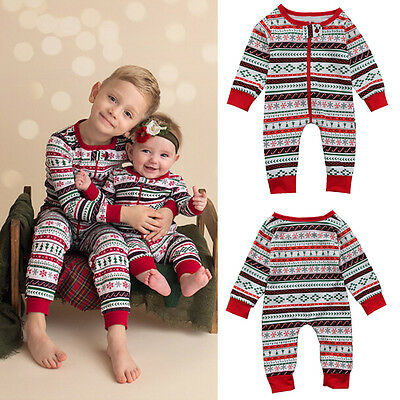 UK Newborn Baby Boy Girl Christmas Bodysuit Jumpsuit Playsuit Clothes Outfit NEW