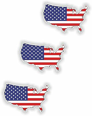 3x USA Map Flag Stickers Silhouette With Flag for Helmet Hard Hat Locker