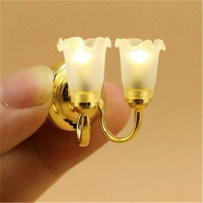 1:12 Dollhouse Miniature Working Wall Lighting Double Lamp White Flower Shade ♫