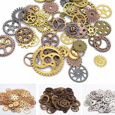 100g Pieces Lots Vintage Steampunk Wristwatch Parts Gears Wheels Steam Punk Kit