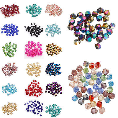 200 pcs 4mm Bicone 5301# Faceted Crystal Glass Loose Spacer Beads DIY