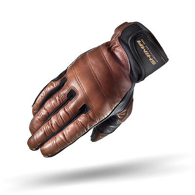 SHIMA REVOLVER BROWN, Retro Motorcycle Protection Gloves Full Fingers Vintage