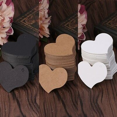 100X Blank Heart shape Kraft Paper Hang Tags Wedding Party Label Price Gift Card