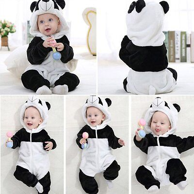 Newborn Kids Baby Boy Girl Panda Romper Hooded Jumpsuit Bodysuit Outfits Clothes