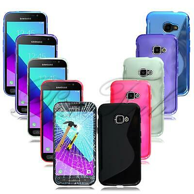 For Samsung Galaxy Xcover 4 SM-G390F New Black Gel Rubber Phone Case + T Glass