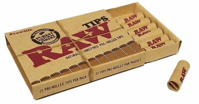 RAW 2 x Natural Unrefined Pre-Rolled Tips 21 Per Pack Pure Fibres paper