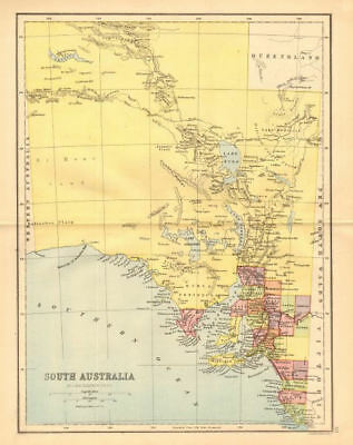 SOUTH AUSTRALIA. State map shows 24 counties. Railways. Adelaide, 1876