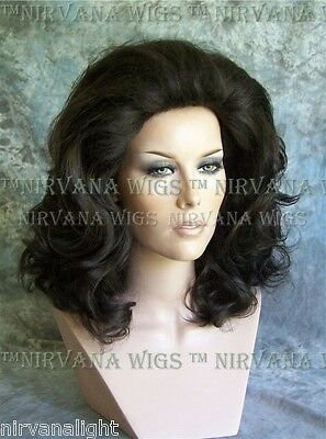 BLACK Lots of Volume Med Length Drag Queen Mens Womens Wig