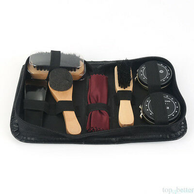 Shoe Shine Care Kit Black & Transparent Polish Brush Set for Boots Shoes Care TO