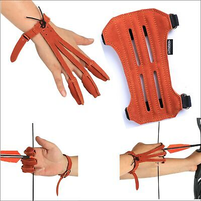 IRQ Archery Adjustable Arm Guard With Three Finger Gloves Protective Gear Hunter