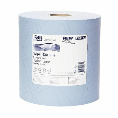 'Tork' Wiping Paper Plus -  2 Ply Blue (2 Rolls per Pack)