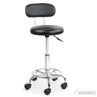Black Salon Stool Chair Swivel PU Leather Round Hydraulic Backrest Hairdressing