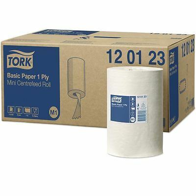 11 x 'Tork' Mini  Basic Paper - Centrefeed Roll - 1Ply White