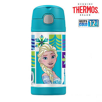 New THERMOS Funtainer S/Steel Vacuum Insulated Drink Bottle 355ml Disney Frozen