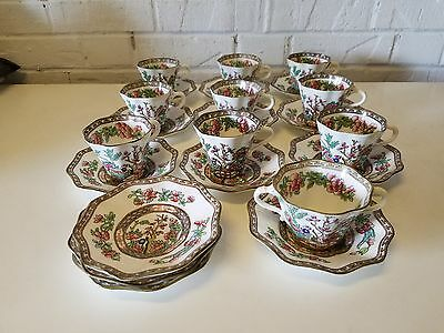 "Coaport England ""Indian Tree"" Porcelain 10 Set of Cups Saucers and Bouillon Bowl"