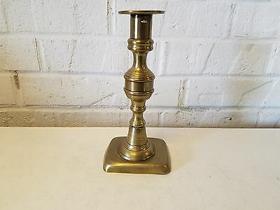 "Antique Brass 7 3/4"" Candle Holder with Square Base"