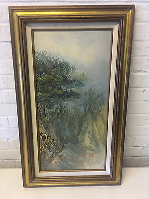 Vintage Asian Chinese or Japanese Signed Oil on Canvas Landscape Painting Trees