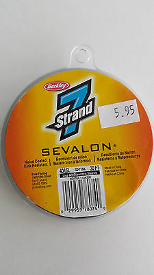 "BERKLY 7Strand SEVALON nylon coated 40LB .024""dia. 30FT Wire  FLY TYING STREAMER"