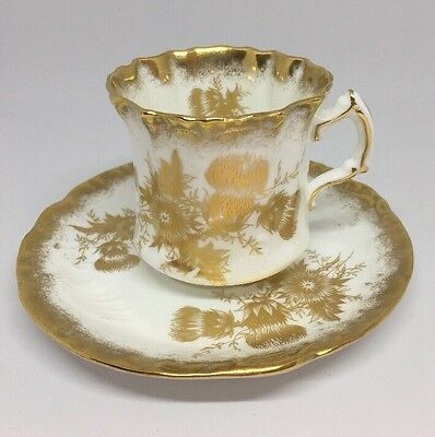 Hammersley Golden Cornflower Tea Cup & Saucer Vintage / Antique 14G