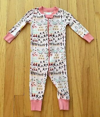Hanna Andersson Girls Pink Chicken Pajamas Size 9 To 12 Months 70 EUC