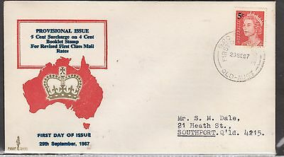 AUSTRALIA 1967 5c Queen Eliz. Surcharge Stamp on FDC