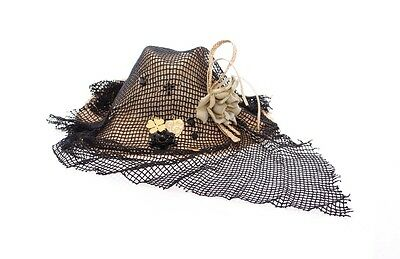 Dolce & Gabbana Black Beige Straw And Fabric Floral Hat Cappello Donna Tg. 57-S