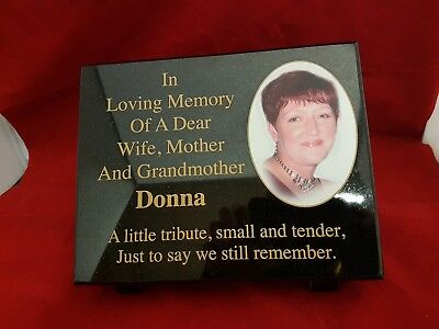 Personalised Black Granite Memorial Grave Plaque Stone with Full Colour Photo