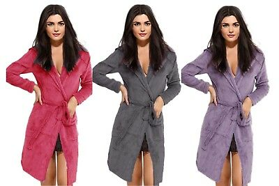 Womens Hooded Fleece Dressing Gown Ladies Pink Purple Bath Robe Belt Optional