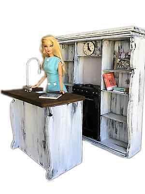 MiniMolly Dollhouse Furniture, BARBIE SIZE Kitchen , oven sink books  1:6 scale