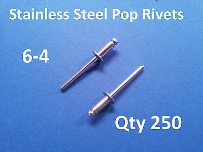 """250 POP RIVETS STAINLESS STEEL BLIND DOME 6-4 4.8mm x 10.8mm 3/16"""""""