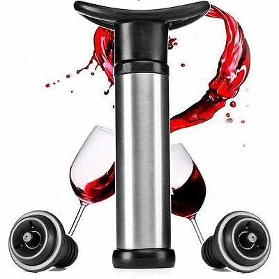 Stainless Steel Wine Bottle Vacuum Saver Sealer Preserver Bar Pump + 2 Stoppers