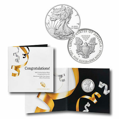 (One) 2017 S PROOF SILVER EAGLE CONGRATULATIONS SET 17RF Unsearched Untouched
