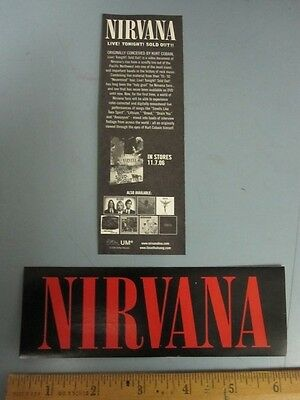 NIRVANA 2006 live!tonight!sold out! promotional sticker New Old Stock Mint Cond