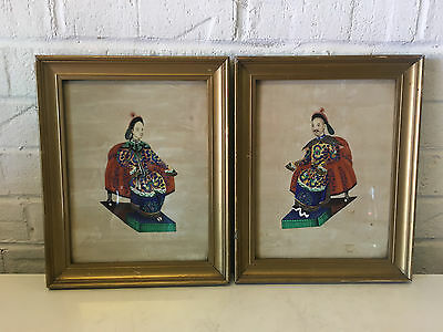 Antique Chinese Export Pith Rice Paper Pair Paintings Man Woman Emperor Empress