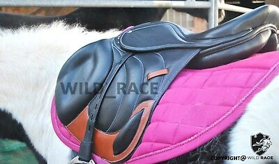 """NEW JUMP CLOSE CONTACT 100% GENUINE LEATHER SADDLE (Available size 16"""" 17"""" 18"""")"""