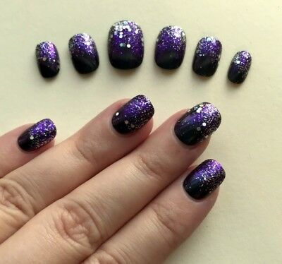 Hand Painted False Nails Square (Or ALL SHAPES) Deep Purple Glitter Unicorn UK