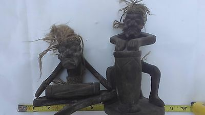 Indonesian Primitive Tiki Hand Carved Wood Drummer Figurine lot of 2 Very COOL!