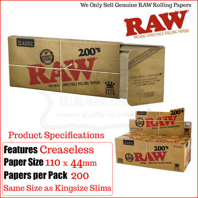 Raw 200 King Size Slim Papers - 200 Papers Per Pack + One Pack Raw Tips FREE