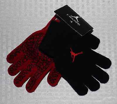 2 Pairs Nike Jordan Gloves Size 8-20 Kids Youth Elephant Print Black Red Nwt