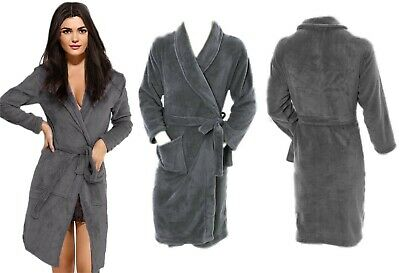 New Soft Fleece Dressing Gown Grey Bath Robe Pockets Unisex Ladies Mens *LICK*