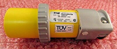 LOT OF 2 T&B Russellstoll 2-Pole 3-Wire 60A 250V Waterproof Pin & Sleeve Plug