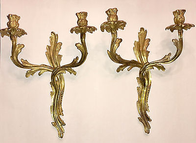 Pair of Louis XV Style Gilt Bronze Sconces from France